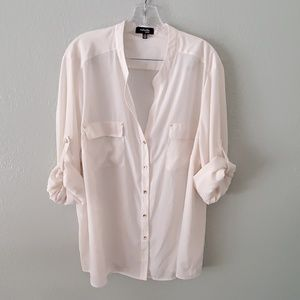 Sheer ivory blouse gold buttons 3X long sleeve